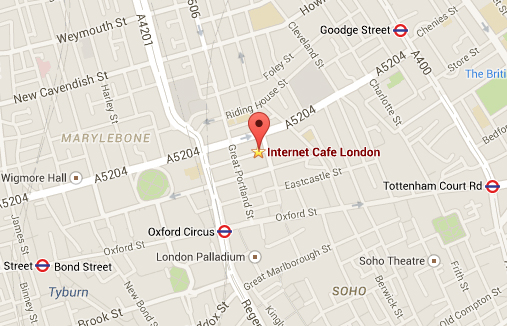 Internet Cafe London on map